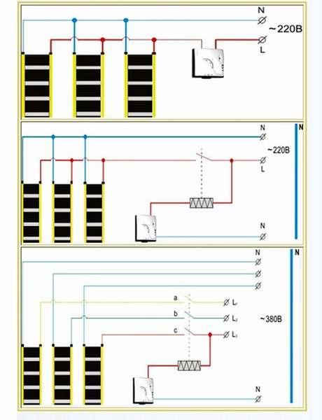 Инфракрасный теплый пол: как подключить сети питания 220/380 V