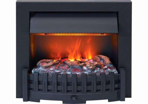 Образец электрического камина с эффектом пламени, напоминающий чугунную модель