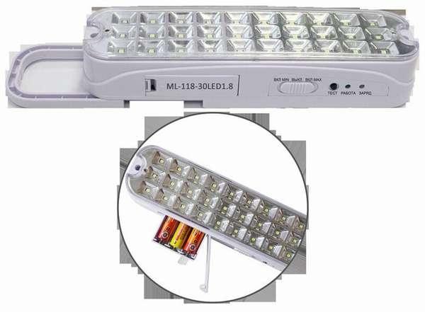 В этот автономный светодиодный светильник можно устанавливать стандартные аккумуляторные батареи