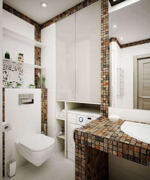 Вариант установки подвесного унитаза в небольшом уголке ванной комнаты, позволяет освободить пространство для стиральной машинки или каких-либо элементов декора