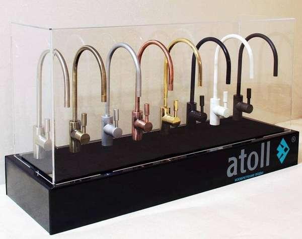 При выборе фильтра для воды на кухню с краном можно подобрать подходящую по стилю интерьера и цвету модель