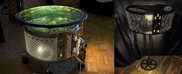 Журнальный столик с подсветкой и торшер