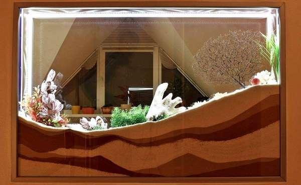 Декорации дна кварцевым песком и глинистой почвой