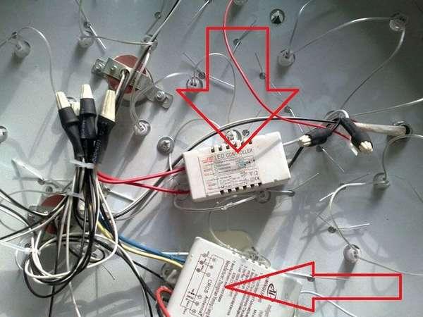 Ремонт люстр светодиодных выполняют с учетом особенностей определенных конструкций