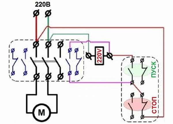 Простейший вариант подключения двигателя к сети 220V