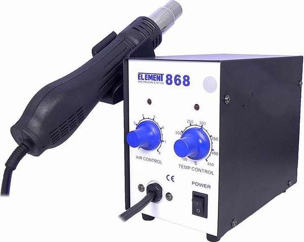 Термовоздушный прибор позволяет выпаивать труднодоступные для контактной ПС радиодетали