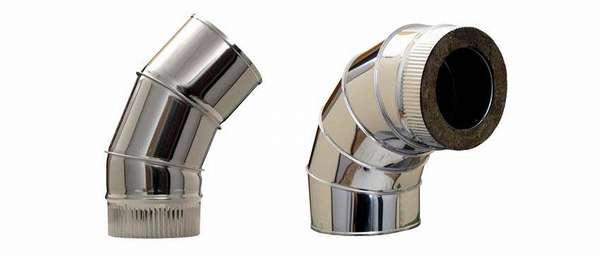 Отвод для сэндвич трубы для дымохода диаметром 115 мм