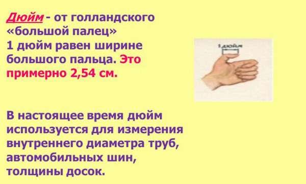 один дюйм - размер большого пальца