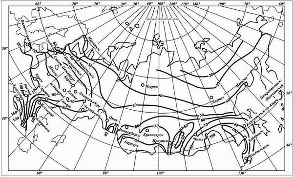 Карта-схема для определения коэффициента интенсивности осадков q20 для конкретного региона