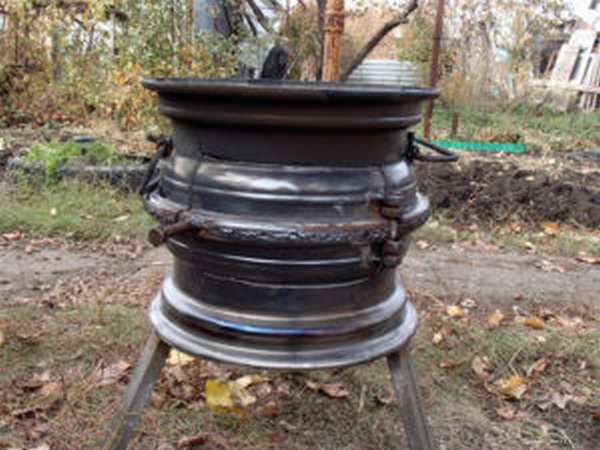 Печь для казана из автомобильных дисков своими руками