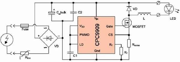 Электрическая схема светодиодной лампы на 220В, оснащенной современным драйвером