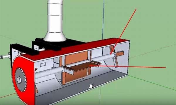 Устройство роторного снегоочистителя: основное отличие – направляющие для снега лопасти не имеют спиральной формы
