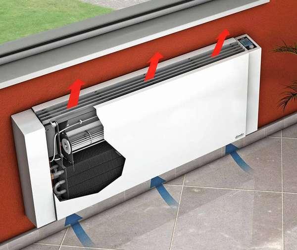 Принцип работы любого обогревателя конвекторного типа – поступление холодного воздуха в нижнюю часть и распределение нагретого от верха прибора