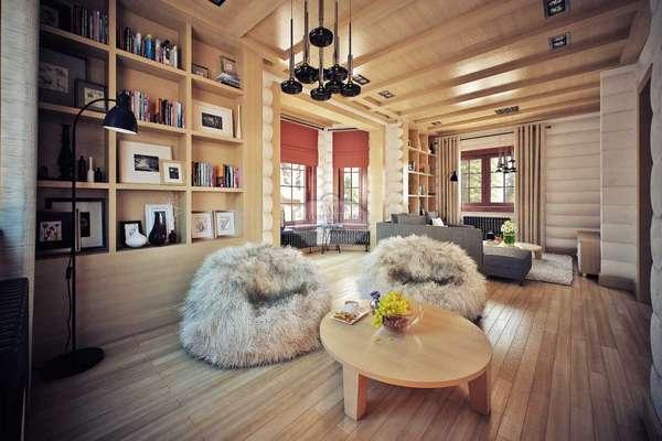 внутренний интерьер деревянного дома