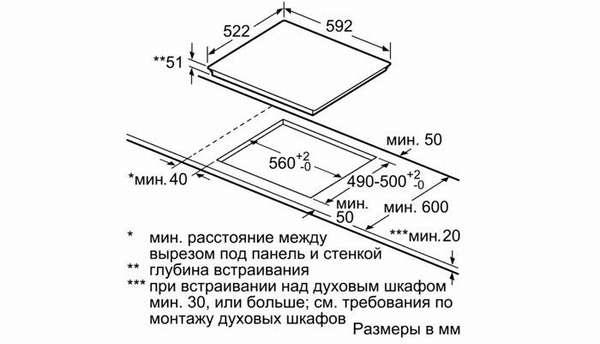Монтажная схема поможет установить изделие в кухонной мебели без ошибок