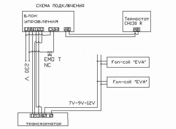 Схема подключения электронного термостата для конвектора