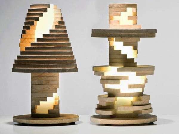 Оригинальные светодиодные лампы из дерева с геометрическим узором