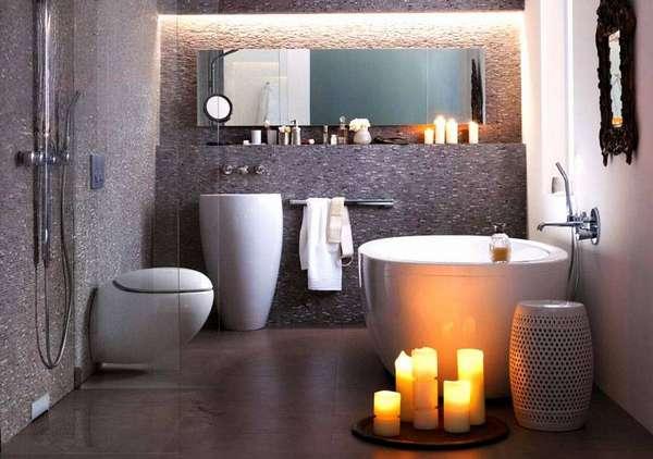 Необычный подвесной унитаз в современной ванной комнате станет изюминкой интерьера