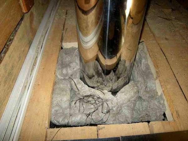 Утепление дымоотвода в месте прохода через деревянное перекрытие