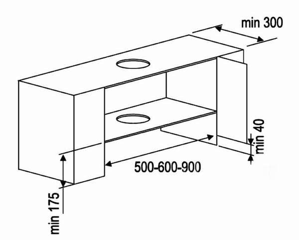 Размеры вытяжки 60 см для кухни влияют на габариты ящика, поэтому следует уделить этому вопросу особое внимание