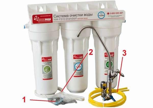 В стандартную комплектацию кроме основных компонентов включают крепежные детали (1), ключ (2) для демонтажа стакана, соединительные трубки (3)