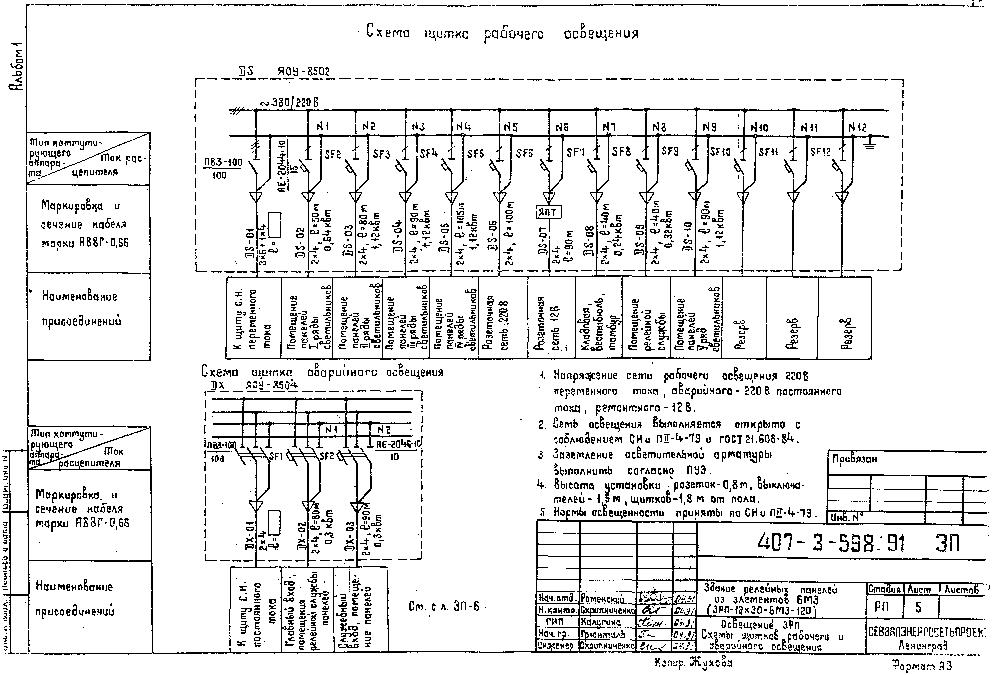Щит освещения: пример составления однолинейной схемы
