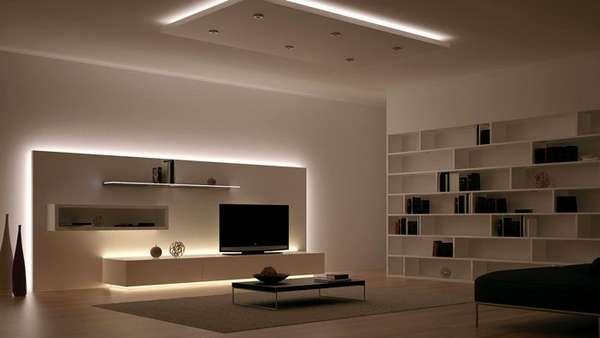 Применение линейных светодиодных светильников для основного освещения в гостиной