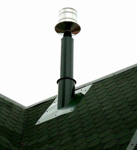 Для усиления тяги в конце дымоотвода можно установить дефлектор