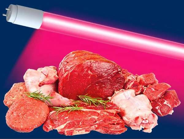 Розовый спектр излучения используют для оформления витрин с мясной продукцией