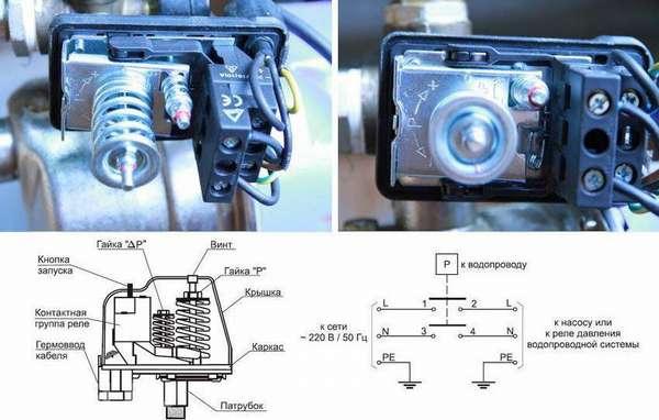 Внешний вид разобранного реле и схема электрического подключения