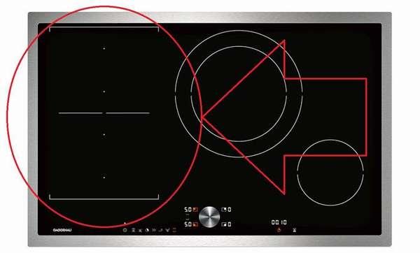 Эту зону совместно или раздельно можно использовать для работы с нестандартной посудой