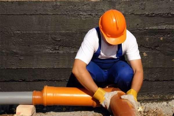Наружная канализация ПВХ монтаж