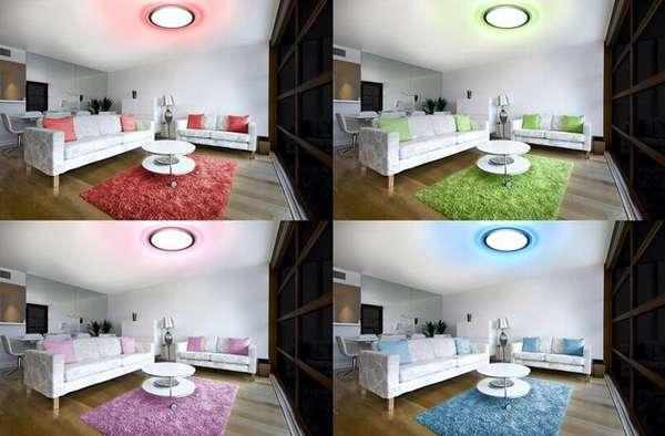 Изменение цвета излучения позволяет настроить параметры с учётом особенностей декоративного оформления определённого интерьера