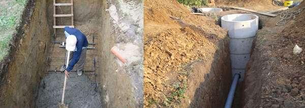 Бетонирование ямы под септик и подключение септика