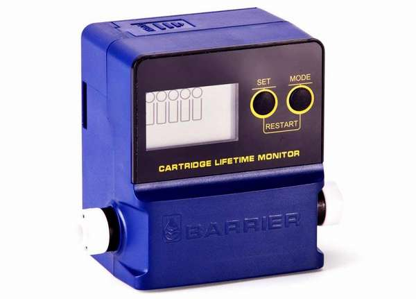 Чтобы не нарушать правила эксплуатации сменных фильтров для воды, Барьер предлагает применять такой индикатор. Он измеряет количество потребленной воды, оповещает пользователя о превышении определенного порога