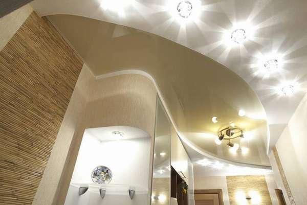 Точечные светильники на потолке