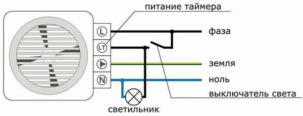 Схема подключения вентилятора для вытяжки с таймером к потолочному освещению