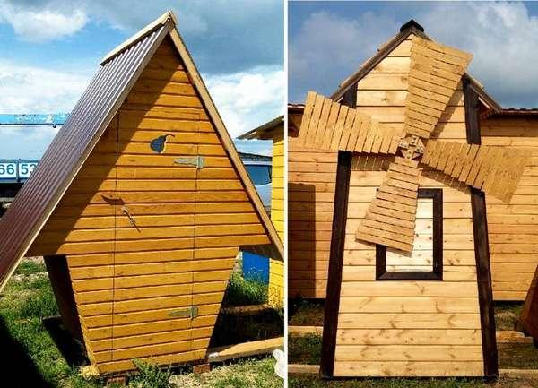 Стандартный дачный деревянный туалет своими рукамиможно усовершенствовать с применением профилированных листов на крыше, каркаса из металла