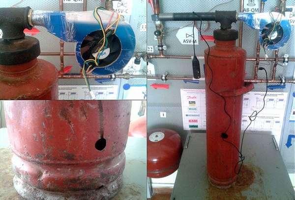 Для принудительного перемещения дыма в этом проекте использован старый тепловентилятор