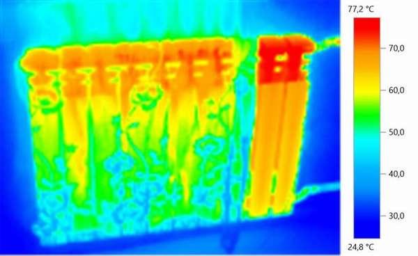 Неравномерный разогрев радиатора говорит о засоре секций – здесь нужна прочистка