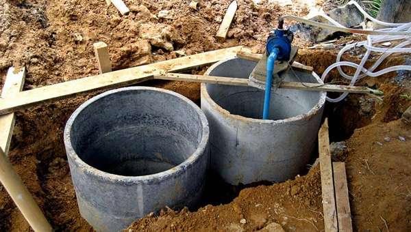 Установка септика из бетонных, колодезных колец