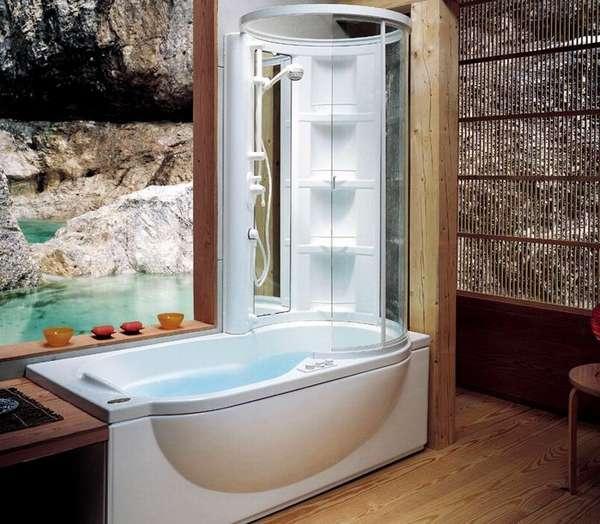 Душевая кабина с ванной открытого типа